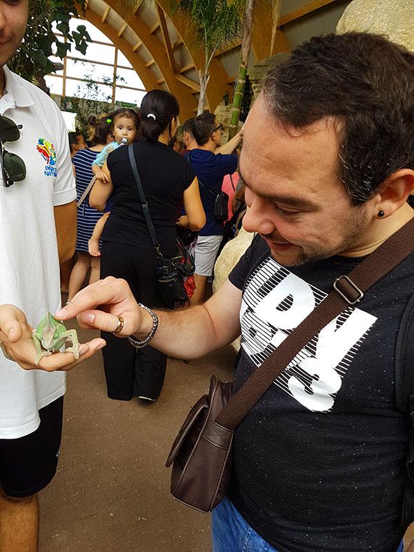 marco che accarezza l'iguana